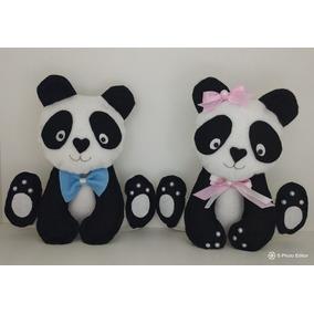 Kit Pandas Em Feltro - 2 Un. 30cm + 2 Un. 35cm