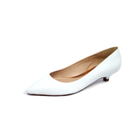 c6add924c Scarpin Couro Branco Salto 4cm Mulher Sapatos Feminino - Sapatos no ...