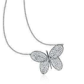 Vivara Colar Butterfly De Ouro Branco Cravejado Brilhantes