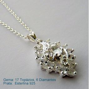 Corrente E Pingente De Prata 925 Com Topázio E Diamante 7059