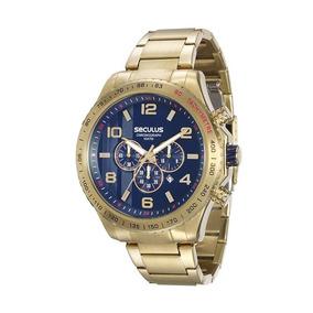 Seculus Relógio Cronógrafo Em Aço Dourado