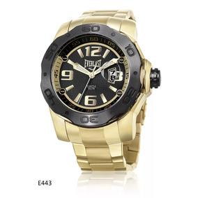Relógio Masculino Dourado Everlast Big Case E443 Aço Oferta