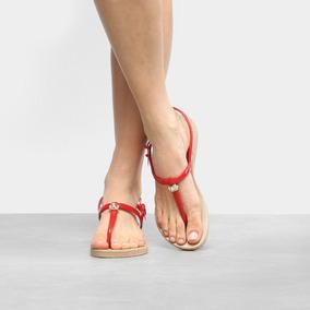 Sandália Azaleia Solado Baixo Textura Feminina - Vermelho