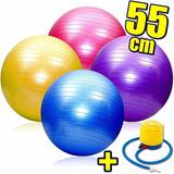 Pelota Pilates Esferodinamia 55cm Fitness + Inflador El Rey