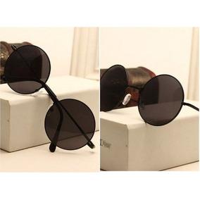 Óculos De Sol Redondo Estilo John Lennon Preto Espelhado - Óculos no ... 3459cc57b2
