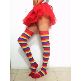 12pz Media Calceta Rainbow Arcoiris Lolita Sexy Payaso Envio