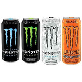 Monster Energy Drink 4 Unid 473 Ml Ultra, Lo Carb, Juice