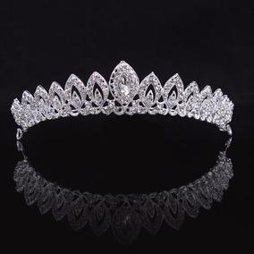 Coroa Tiara Cabelo Noiva Strass Prata Luxo Debutante