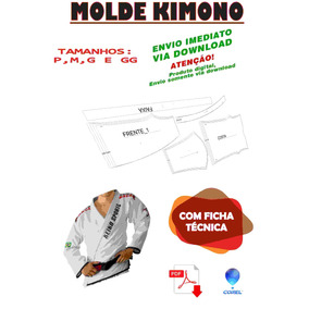 Molde Kimono Corel Pdf P,m,g E Gg Ou Inf. Frete Gratis