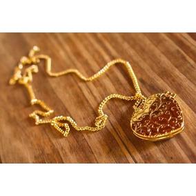 Colar Corrente Cordão Relicário Coração Banhado A Ouro