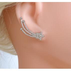 Brinco Feminino Ear Cuff Estrela Cadente Prata Legítima 925