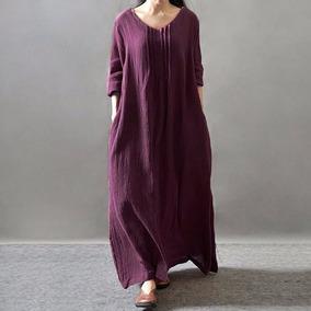 Vestido Casual De Algodón Cuello V Mangas Largas Color Puro