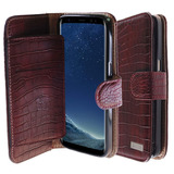 Galaxy S8-plus Wallet Funda,[vintage Crocodile Wine] Bi-fold