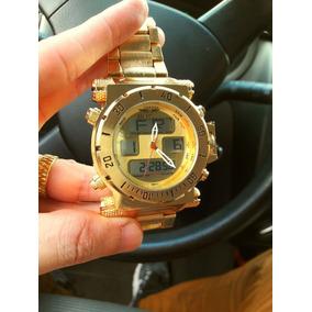 7dd1fc397e5 Relógio Digital Masculino Dourado Metal Pesado Importado