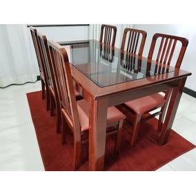Conjunto Mogno Mesa Com 6 Cadeiras