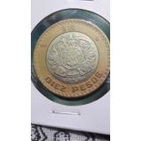 1 Moneda 10 Pesos Año 2007 Grafila Invertida Circulada