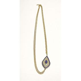 Collar Hermoso De Moda Fantasia Dorado Con Ojo Azul