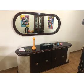 Buffet / Aparador Em Madeira Com 4 Portas Com Espelho Grande