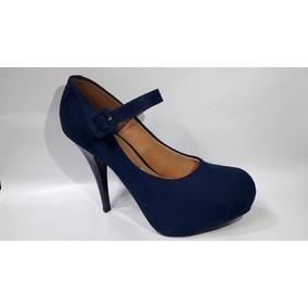04fe140b5 Scarpin Vizzano Bico Fino Verniz Azul Salto Baixo - Sapatos Azul ...