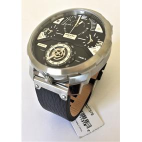Relógio Masc Diesel Aço Prata Pulseira Couro Preta Dz7379