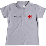 Camisa Feminina Polo Vasco Da Gama Blusa Torcedora Vascao