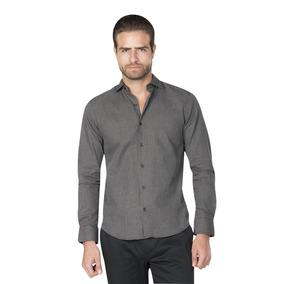 Camisas Hombre Cuadros Casual Gris Moda Slim Fit B85346