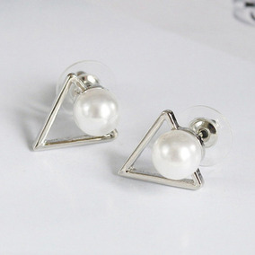 a6ecfb0f54d9 Moda Salvaje Triángulo Geométrico Pendientes De Perlas