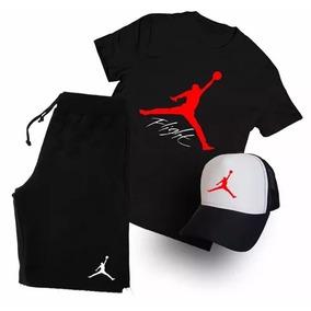 Kit Air Jordan Fight Boné Camiseta Bermuda Camisa - Pormoção 931272ae7cd