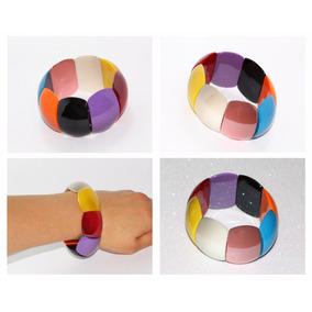 Pulsera Moda Cuentas Rectangulares Colores Bisuteria Pc314