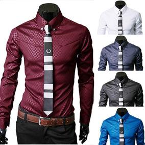 Camisa Masculina Kit Com 4 Social Slim Pronta