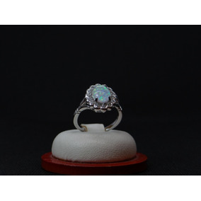 Hermoso Anillo De Plata 925 Con Opalo Y Cristales A300a27