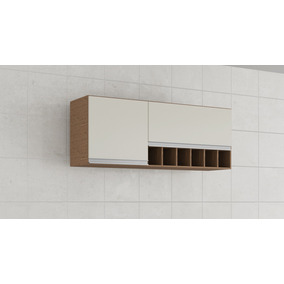Armario Cozinha Prisma 1,34cm Mdf 2 Portas Amendoa/branco