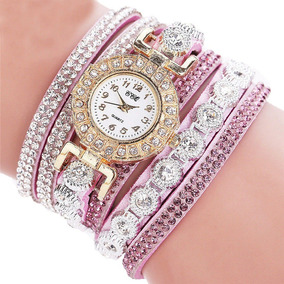 Relógio Feminino Bracelete Rosa Dourado Strass