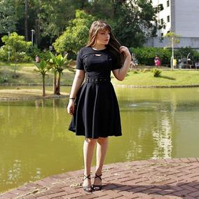 Vestido Moda Evangélica Evase Com Botoes E Cinto Antonella