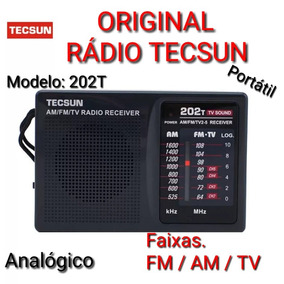 Rádio Portatil Original Tecsun R-202t _ Fm, Am, Tv Analogico