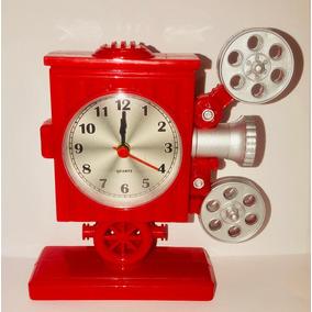 Reloj Escritorio Acrilico Proyector Cine Antiguo 15 Cm