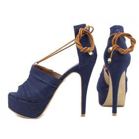 Sandália Jeans Salto Alto Fino Gucci Torricella 13cm Azul