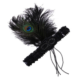 Celada Década De 1920 Pluma Borla Aleta Venda Gran Tocado G · Elegante  Niñas De Lentejuelas Peacock Pluma Borla Headband 67154f2cbf3