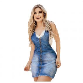 Vestido Jardineira Salopete Ziper Com Lycra Feminino