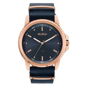Relógio Euro Feminino Rose Azul Pulseira Couro Eu2035ynm 4a