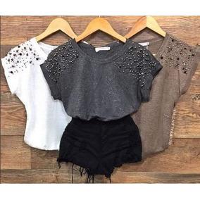 5 Blusinhas T-shirts Feminina Com Pedraria Atacado 3ee8884c79371