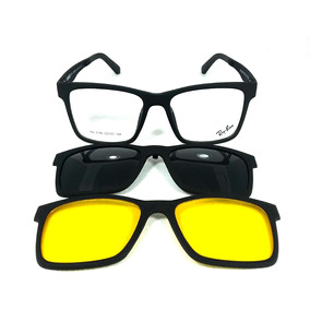 Armação Azul Clip On - Óculos Preto no Mercado Livre Brasil 99f2dc6abb
