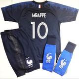 Conjunto Francia Mbappe Niño Camiseta Short Y Medias Niños