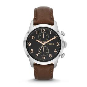 Reloj Fossil Fs4873 Caballero Cafe Piel Con Plata Y Negro