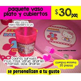 280 Plato Vaso Cubiertos Personalizado Plastico Lavable