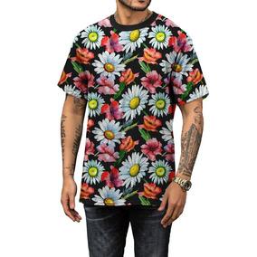 Camisa Camiseta Verão 2019 Margaridas Floral Masculina b77cd3142dfe6