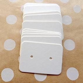 100 Tarjetas Color Blanco Para Aretes Papel Kraf