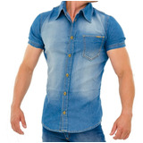 Camisa Jeans Masculina Manga Curta Bolso Lycra Slim Fit Luxo