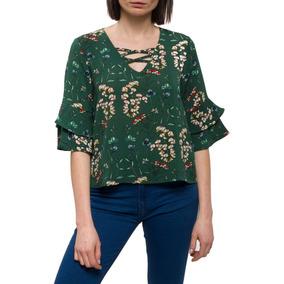 Blusa Flores Djn Verde Dijon