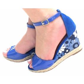 Sandália Azul Salto Corda Anabela Flor Promoção Oferta 2160